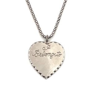 Jewelry - Vintage I Belong To Heart Pendant Necklace Silver